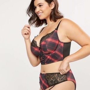 Cacique Lightly Lined French Balconette Bra Plaid